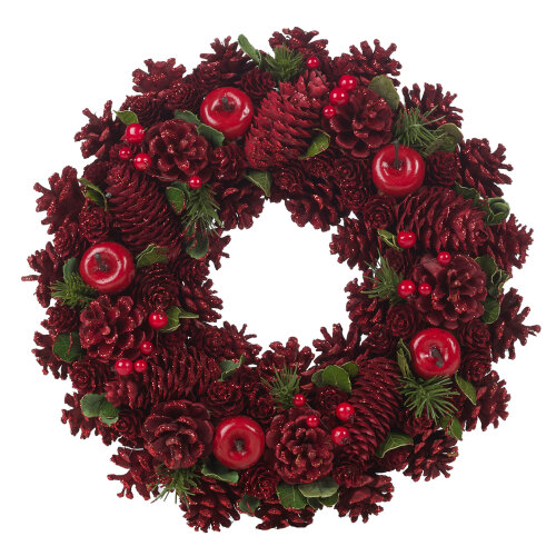 (Red, 26cm) URBNLIVING Artificial Pinecone Christmas Wreath - 24-34cm