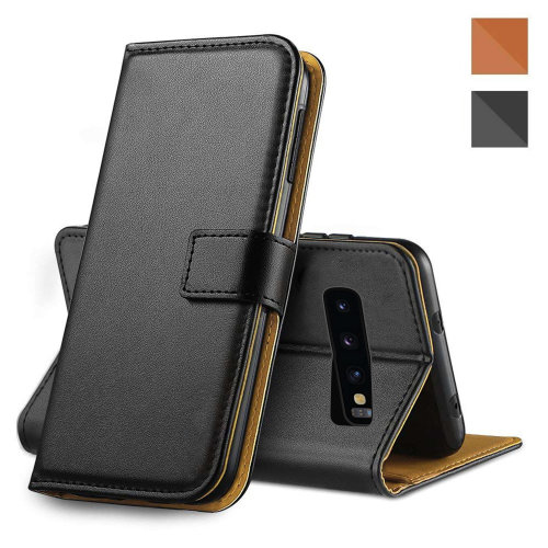 (Samsung Galaxy A40, Black) Luxury Leather Flip Wallet Phone Case Cover Cash and Card Slots Magnetic Kickstand + Screen Protector Samsung Galaxy S10 Plus S10e A40 A50 S9 Plus S8