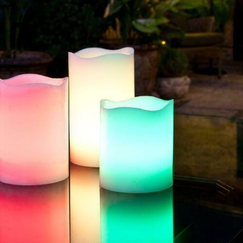 GEEZY Colour Changing LED Candles 3 Pack With Remote Control + Timer,Flameless Candles