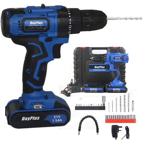 (Drill and Screwdriver Set 45Nm Power Tool 2 Batteries and 29pcs bit Feature LED Light and Hammer) 21V Cordless Combi Drill Driver Electric Screwdriver