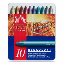 Caran Dache Metal tin with 10 wax pastels assorted metallic colours