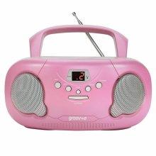 Groov-e Original Boombox Portable CD Player?AM/FM Radio?3.5mm AuxIn?PS733PK?Pink