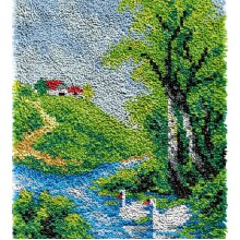 Lakeside House Rug Latch Hooking Kit (64x48cm blank canvas)