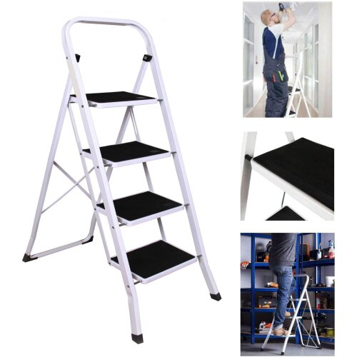 4 Step Ladder Heavy Duty Steel Portable  Foldable Step Stool Non-Slip