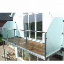 Stainless Steel Balustrade Post Pole & Glass Clamps for Balcony Decking Landing