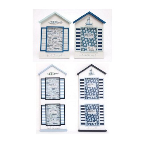 Nautical Beach Hut Shaped Frames Fit 4 x 6 Photo Double Frame Boat