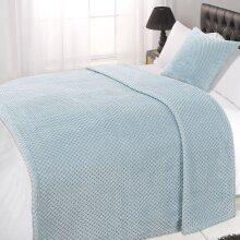 (Duck Egg Blue, King - 200 x 240cm) Dreamscene Luxurious Waffle Honeycomb Blanket Throw (Large)