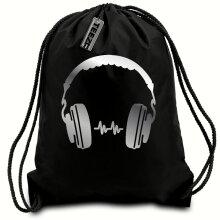 Black & Silver D J Headphones drawstring bag, Swimming bag