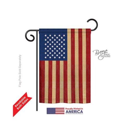 Breeze Decor 58029 Patriotic USA Vintage 2-Sided Impression Garden Flag - 13 x 18.5 in.