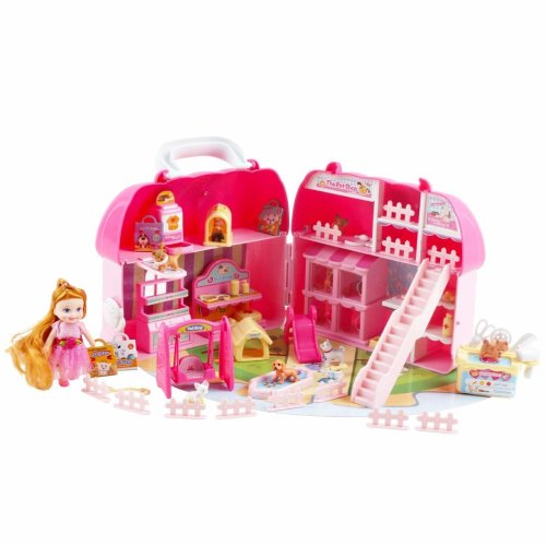deAO 'My First Pet Shop' Portable Carry Case and Play House with 36 Mini Accessories, Doll and Assorted Mini Pets