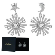 Craftuneed simplicity moon star zircon stone drop earrings 925 silver pin