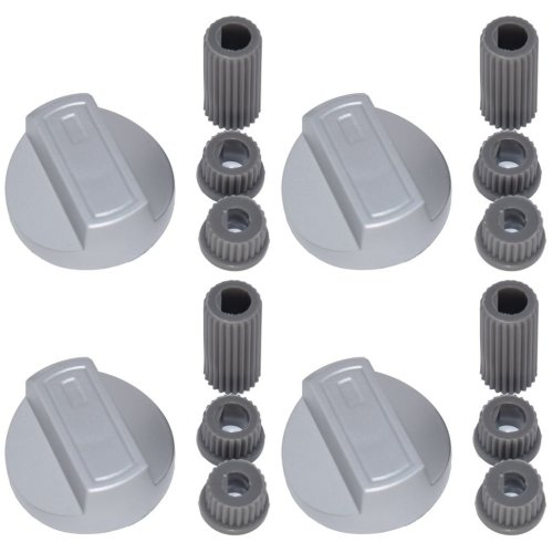 4 X New World Universal Universal Cooker/Oven/Grill Control Knob And Adaptors Silver