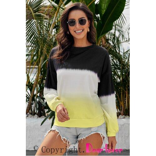 (XXL) Womens  Loose Pullover Sweatshirt Long Sleeve Crewneck Tops