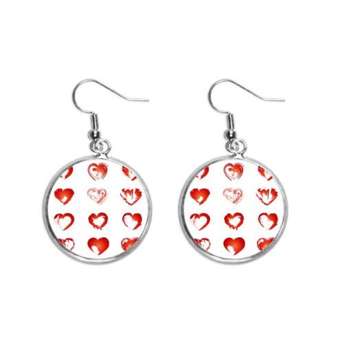 Valentine's Day Hearts Red Sketch Ear Dangle Silver Drop Earring Jewelry Woman