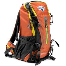 45L Internal Frame Hiking And Camping Daypack Backpack With Ripstop Water Resistant Nylon By Grizzly Peak Orange