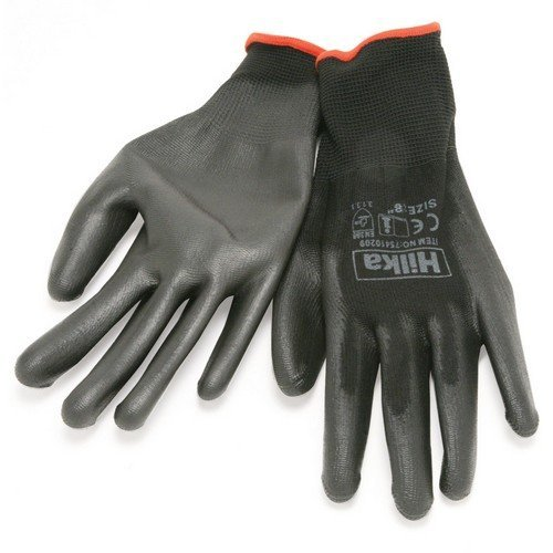 Hilka 75410208 PU Gloves Black Size 8 Small