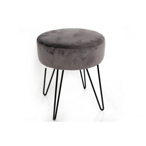 35x40 Grey Velvet Round Stool Leg Rest With Metal Wire Legs
