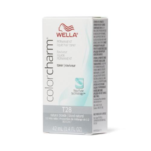 (T28 Natural Blonde) Wella Color Charm Permanent Liquid Hair Toner - Blondes