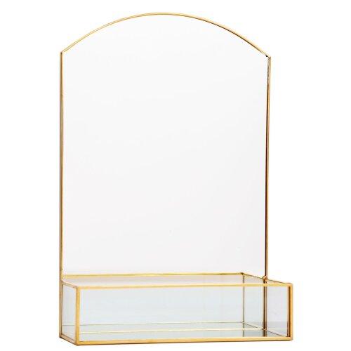 Stunning Gold Effect Metal Dressing Table Vanity Mirror ~ Modern Display Storage Shelf