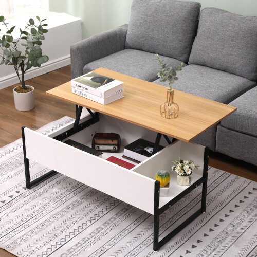 (Oak) Modern lift up folding coffee table with storage