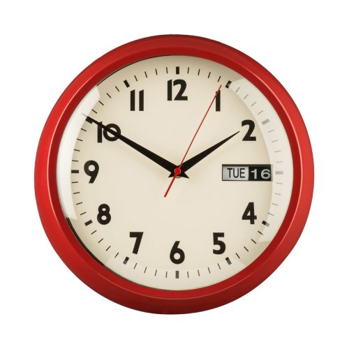 Retro Style Wall Clock With Day and Date, Red
