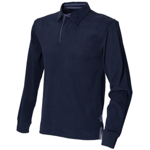 Navy  Super Soft Long Sleeve Rugby Shirt Front Row Size XL