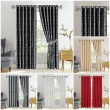 Heavy Jacquard Eyelet Ring Top Fully Lined Ready Made Curtains