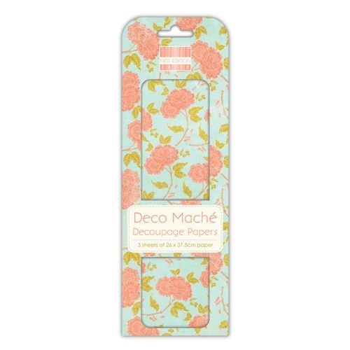 First Edition Deco Mache Decoupage Paper,  Orange Bloom ,3 Sheets