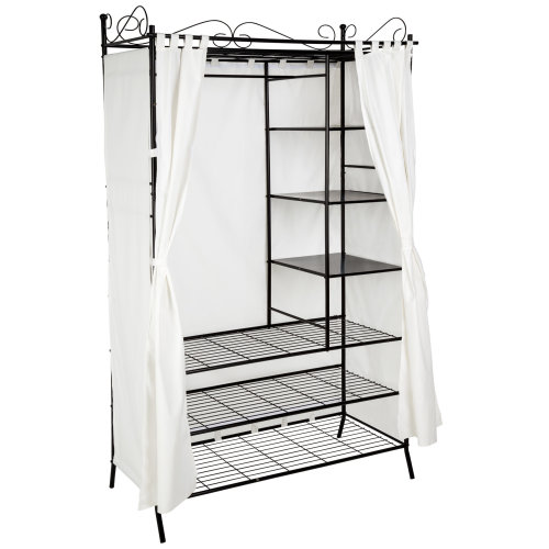 Metal wardrobe with curtains - black