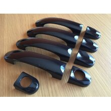 GLOSS BLACK 4 DOOR HANDLE COVERS FITS VW TRANSPORTER T5 T6 CARAVELLE