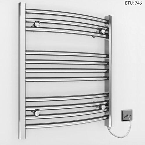 (600 x 600mm (BTU: 746)) Curved Chrome Electric Towel Rail Radiator
