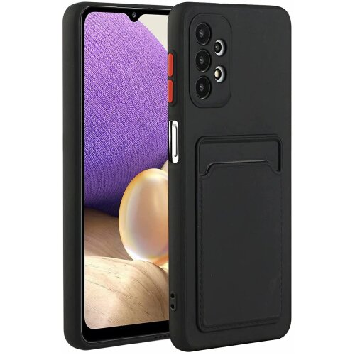 For Samsung A32 Case, Built-in Card Holder Slim Fit Protective Silicone Credit Card Slot Case