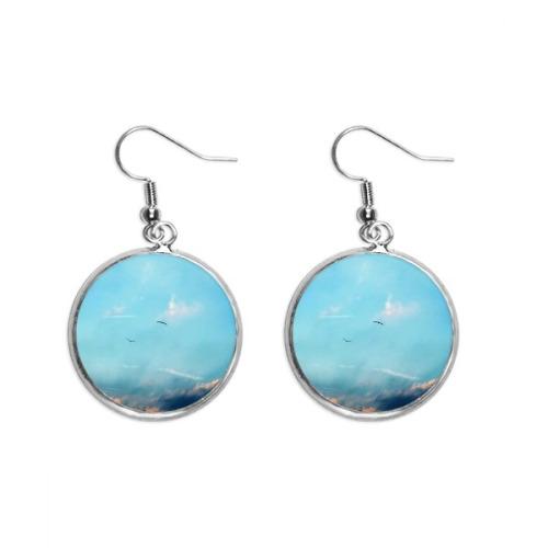 White Sky Bird Ear Dangle Silver Drop Earring Jewelry Woman
