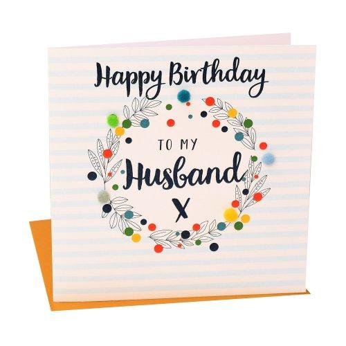 """Pom Pom POM023 """"Happy Birthday to my Husband"""" Greeting Card"""