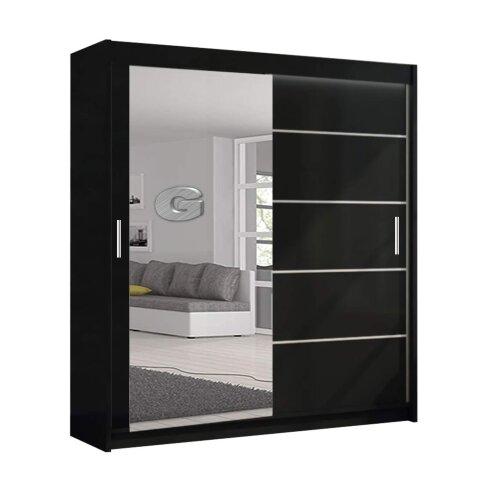 (Black, 120cm) Lyon Modern Bedroom Sliding Door Wardrobe 2 LED's