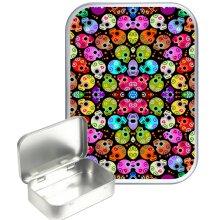 Candy Skull Pattern 30ml Silver Hinged Tobacco Tin, Gift Tin