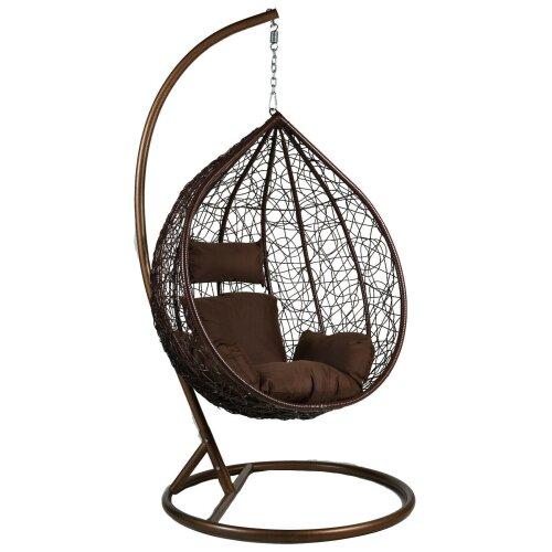 Brown Hanging Egg Chair Swing Hammock Cushion Rattan Wicker