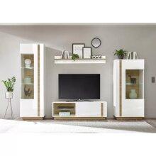 Arco White Gloss Living room Furniture Set with LED Lightings