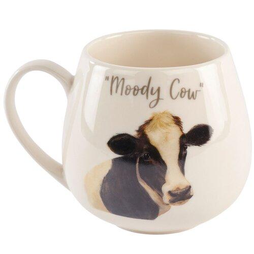 Humorous White Ceramic Drinks Coffee Mug - Novelty Moody Cow Tea Cup