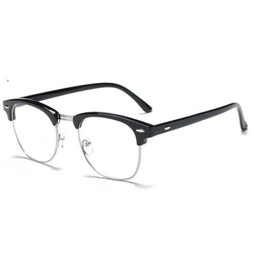 (black silver / -1.50) Classic Myopia Glasses Optical Glasses metal  Eyewear Frame For Women/Men