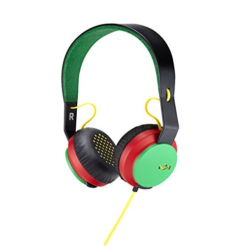 House of Marley, Rebel On-Ear Wired Headphones - in-line Microphone with 1-Button Remote, Single Sided cable, Powerful 40mm Driver, competitive Acoust