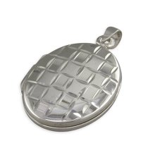 Childrens Sterling Silver Plain Oval With Diamond Cut Squares Locket On A Curb Necklace