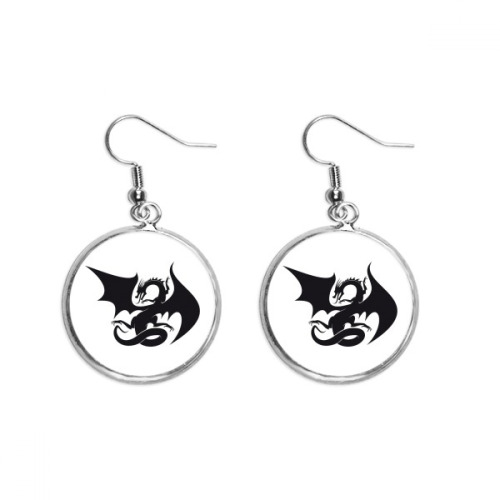 Dragon Animal Art Grain Silhouette Ear Dangle Silver Drop Earring Jewelry Woman