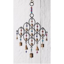 India Recycled Iron Bells & Glass Beads Wind Chime