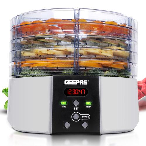 Geepas 520W Digital Food Dehydrator, Large 5 Trays, Timer Auto-Off