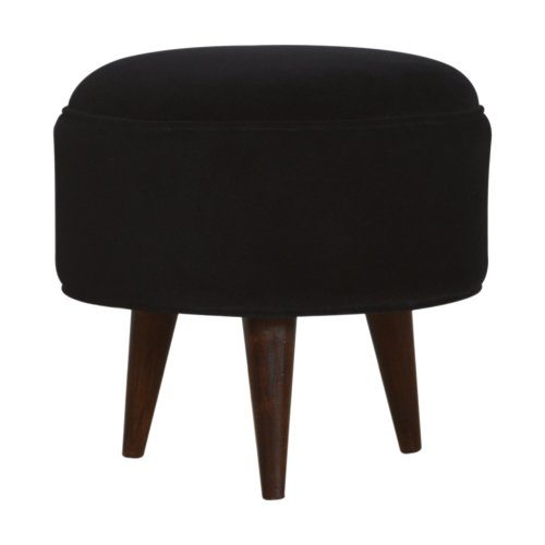 Black Velvet Nordic Style Footstool