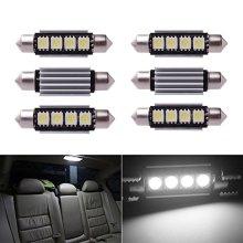Inlink 6pcs White Error Free Festoon canbus 4SMD 5050 42mm LED Car led License Plate Light Festoon led Bulb festoon dome lamp DC 12V