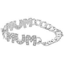 Ladies Sterling Silver CZ MUM Bracelet British Hallmarked