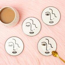 Sass & Belle Abstract Face Coaster