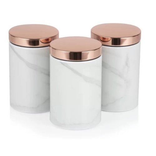 Tower Set of 3 TOWER Rose Gold WHITE MARBLE Canisters